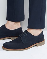 Lambretta Brogues Shoes In Navy Suede Navy Blue