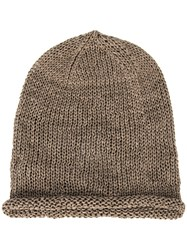 Isabel Benenato Perforated Beanie Brown