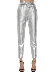 Veronica Beard Faxon Straight Metallic Leather Pants Silver