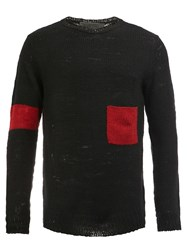 The Elder Statesman Cashmere Colour Block Sweater Black