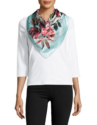 Collection 18 Floral Scarf Turquoise
