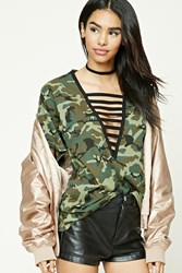 Forever 21 Camo Print Ladder Cutout Top Olive Black