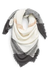 Junior Women's David And Young Square Blanket Scarf Ivory