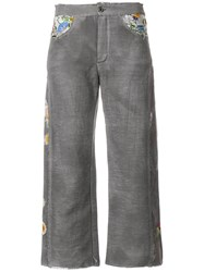 Avant Toi Cropped Embroidered Trousers Grey