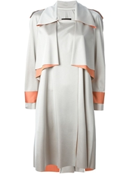 Ilja Draped Trench Style Coat Grey