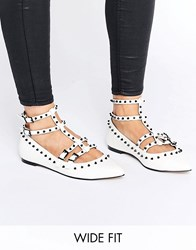 Asos Looking Good Wide Fit Studded Ballet Flats White