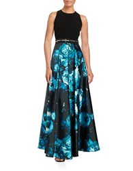 Carmen Marc Valvo Beaded Floral Print Sleeveless A Line Gown Turquoise