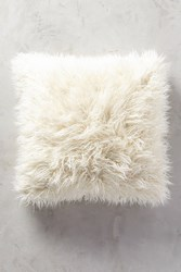 Anthropologie Shag Puff Pillow Ivory