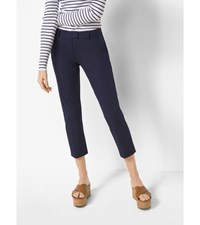 Slim Fit Stretch Twill Cropped Trousers True Navy