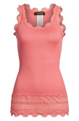 Rosemunde Silk And Cotton Rib Knit Tank Desert Rose