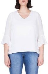 Elvi Plus Size Women's Bell Sleeve Top White