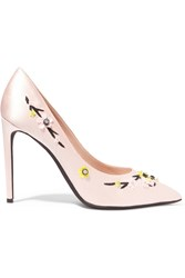 Giambattista Valli Floral Appliqued Satin Pumps Pink