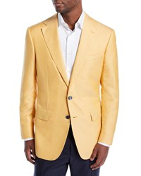 Stefano Ricci Solid Cashmere Two Button Jacket Yellow