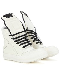 Rick Owens Geobasket Leather High Top Sneakers White