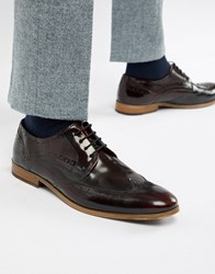 Asos Design Brogue Shoes In Burgundy Leather With Natural Sole Red