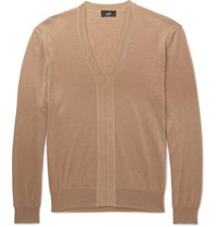 Dunhill Cashmere Merino Wool And Silk Blend Sweater Camel