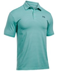 Under Armour Men's Playoff Performance Striped Golf Polo Mint