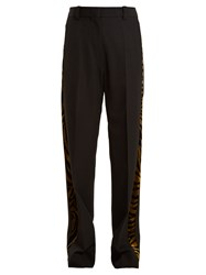 Hillier Bartley Barathea Contrast Panel Linen Trousers Black Gold