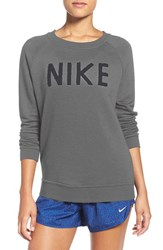 Nike Women's Logo Crewneck Terry Sweatshirt Carbon Heather Dark Grey