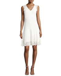 Rebecca Taylor Sleeveless V Neck Textured Lace Dress White
