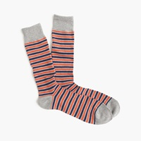 J.Crew Triple Stripe Socks Orange Blue Grey