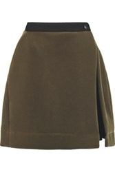Vivienne Westwood Anglomania Anthropology Flared Velvet Mini Skirt Army Green