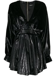 Balmain Long Sleeve Velvety Dress Black