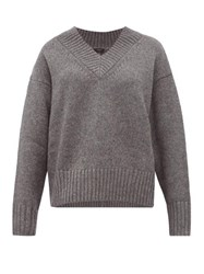 Joseph V Neck Wool Blend Sweater Dark Grey