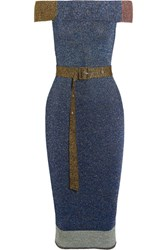 Christopher Kane Off The Shoulder Metallic Ribbed Knit Midi Dress Blue