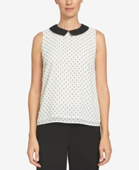 Cece Collared Polka Dot Shell New Ivory