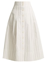 Rebecca Taylor Striped Cotton And Linen Blend Skirt White Stripe