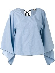 Hache Oversized Blouse Women Cotton 40 Blue