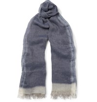 Brunello Cucinelli Striped Linen Scarf Blue