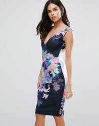 Jessica Wright Floral Cami Midi Dress Navy