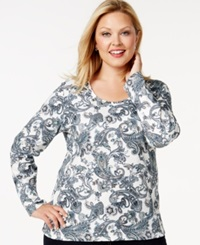 Charter Club Plus Size Long Sleeve Printed Top Only At Macy's