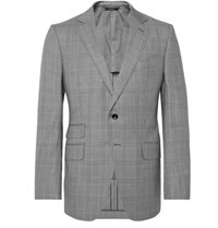 Tom Ford O'connor Slim Fit Prince Of Wales Checked Wool Suit Jacket Gray