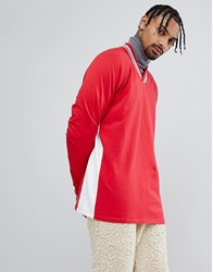 Asos Oversized V Neck Sweatshirt With Contrast Side Panel Rooney Red