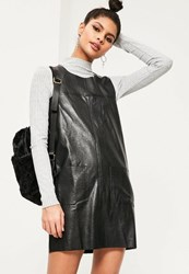 Missguided Black Pinafore Faux Leather Shift Dress