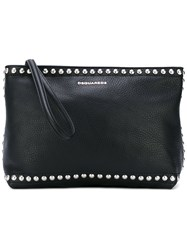 Dsquared2 Studded Clutch Women Calf Leather Metal One Size Black
