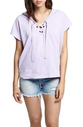Sanctuary Beachcomber Lace Up Cotton Short Sleeve Hoodie Orchid