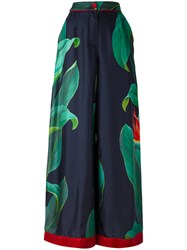 F.R.S For Restless Sleepers Narcisco Palazzo Pants Women Silk M Blue