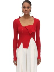 Jacquemus Button Down Viscose Rib Knit Sweater Red