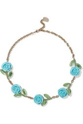 Red Valentino Gold Tone Crystal And Resin Necklace Turquoise