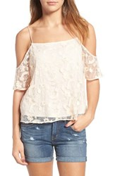 Hinge Women's Embroidered Mesh Off The Shoulder Top Ivory Shell