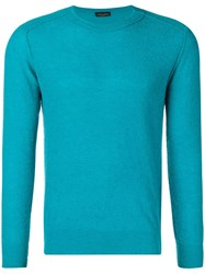 Roberto Collina Fitted Knitted Sweater Blue
