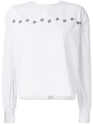 Jupe By Jackie Pinstriped Blouse Cotton S White
