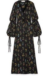 Caroline Constas Doria Floral Print Sateen Wrap Maxi Dress Black
