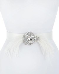 Deborah Drattell Thais Satin Belt With Feathers And Crystals Ivory
