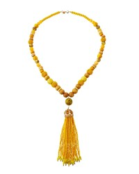 Lydell Nyc Beaded Tassel Pendant Necklace Yellow