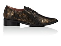 Barneys New York Women's Snakeskin Stamped Leather Oxfords Dark Brown Grey